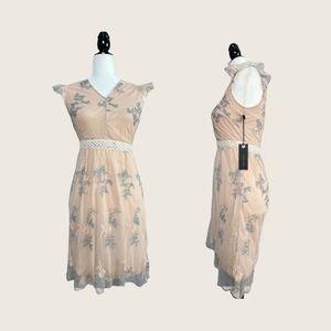 NWT Black Tape Light Peach Dress w Pastel Flowers